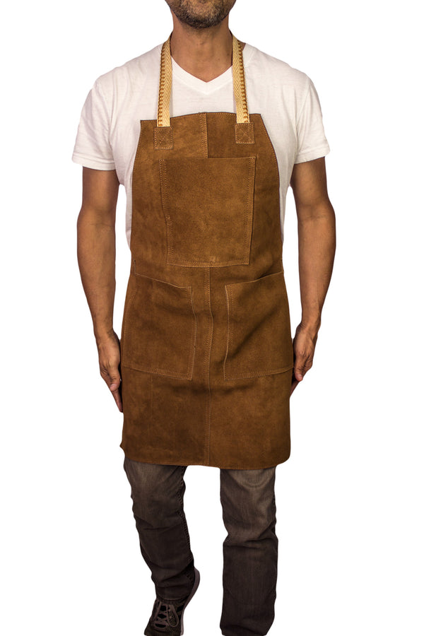 3S Art Leather Short Handmade Apron Genuine Leather Suede -Baristas Kitchen Restaurants Artesian