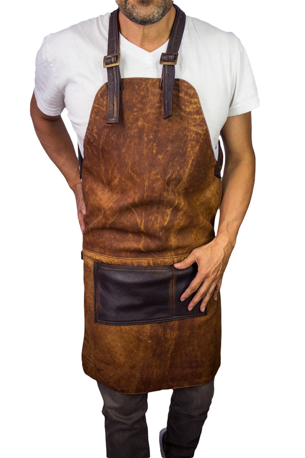PALEO Leather Apron in - Natural Leather for Baristas BBQ Restaurant Personalization
