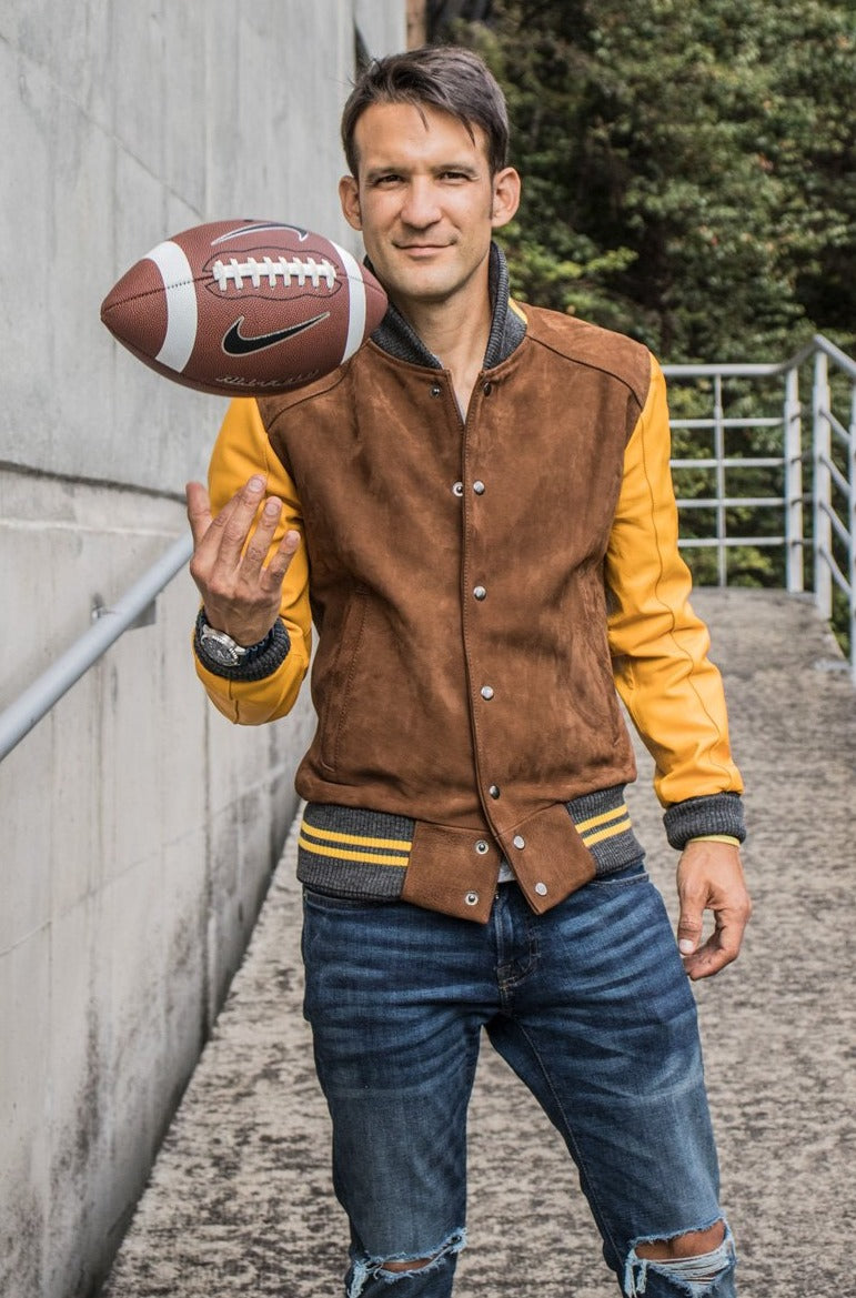 MONTANA Leather Suede Varsity Jacket - Brown & Yellow