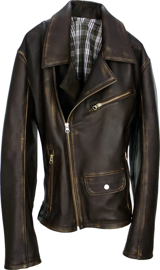 Rebel Gold Leather Jacket Cafe Aged Lambskin Distressed Brown