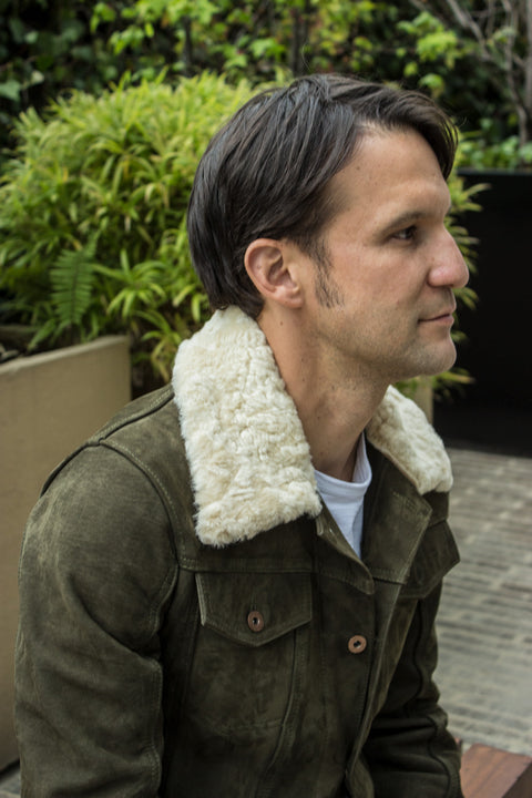 MC DAVE AX Denim Style Jacket Shearling Collar in Nubuck Suede - Olive Green  -