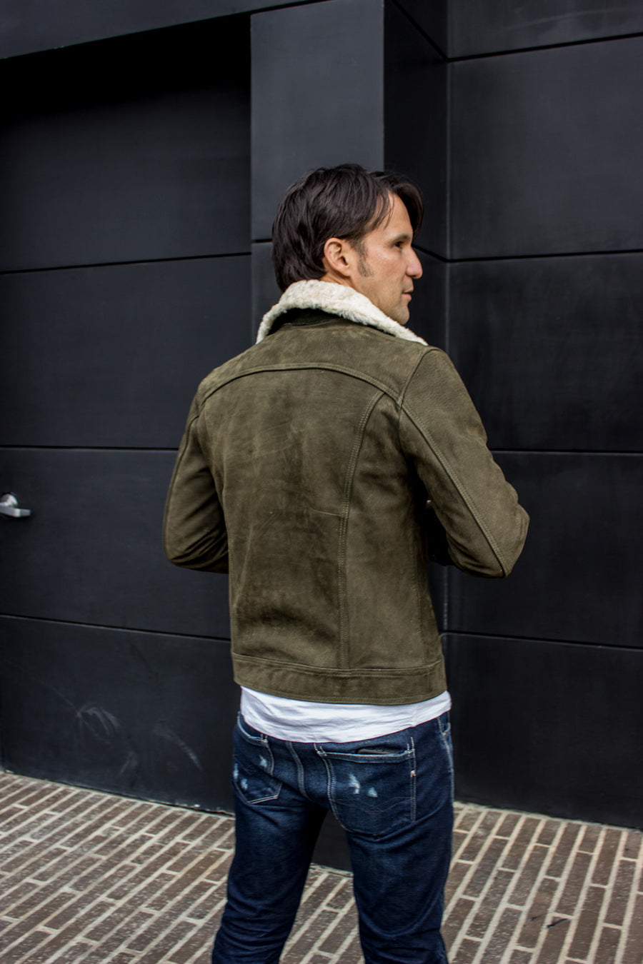 MC DAVE AX Trucker Jacket Shearling Collar in Nubuck Suede - Olive Green  -