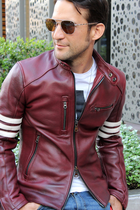 MUSTANG EX Leather Jacket - Special Edition - Mahogany - Stripes
