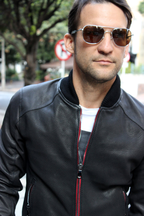 COSMO Leather Jacket Bomber  - Perforated -