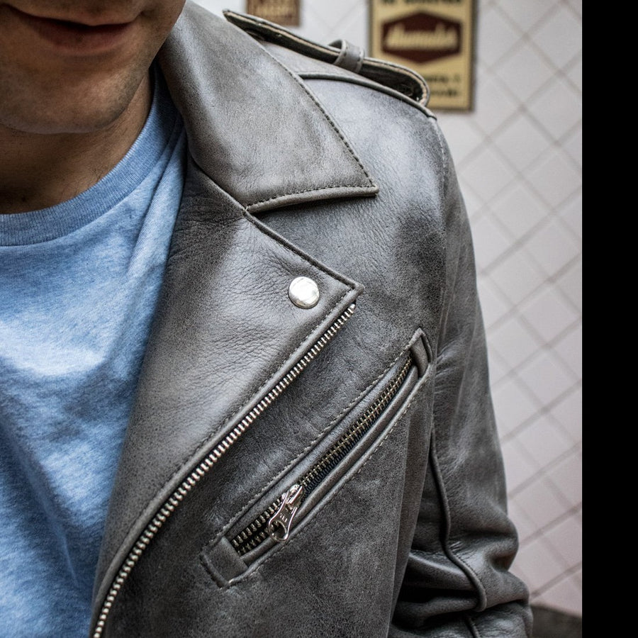 MELBOURNE BK Leather Jacket - Special Edition - Stone Gray -