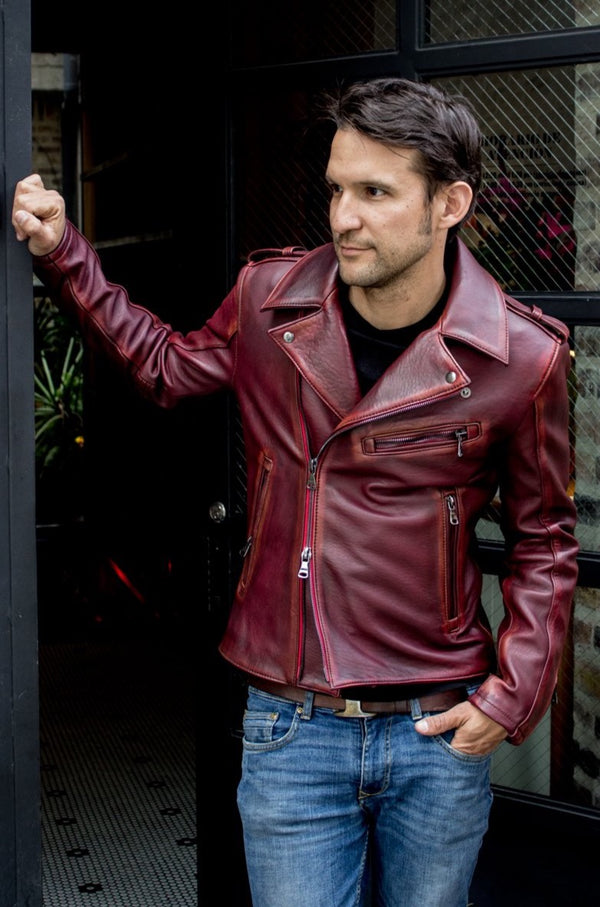 MELBOURNE Leather Jacket - Special Edition - Subtle Distressed Mahogany -