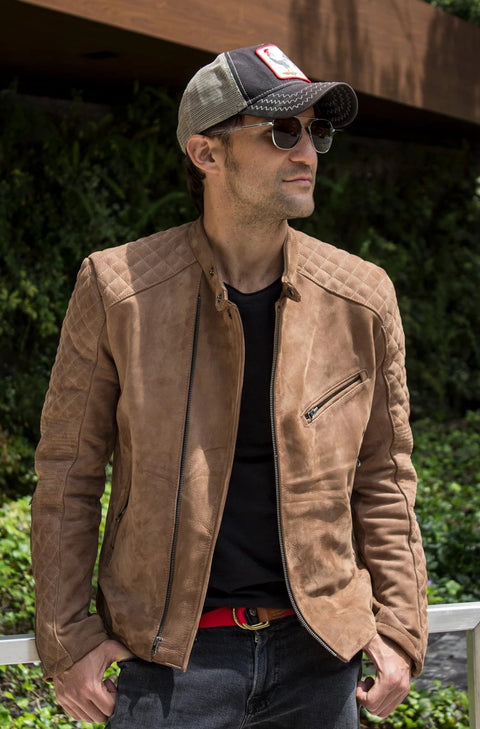 LOTUS RACER Leather Jacket Taupee  - Nubuck Suede -