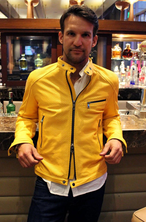 LAMAR Leather Jacket - Perforated - Yellow -