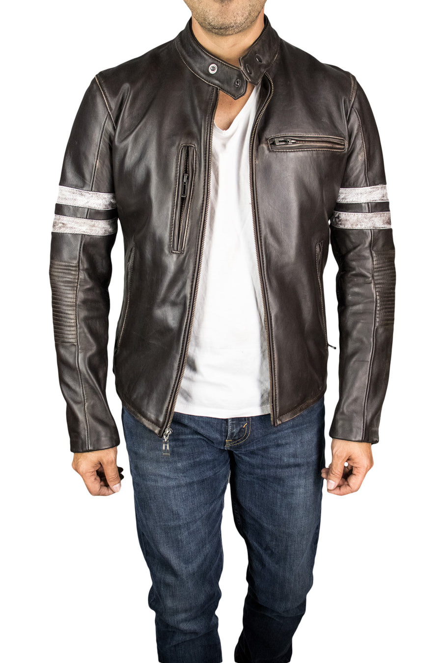 MUSTANG '18 Leather Jacket Distressed Brown - Cafe Racer Stripes