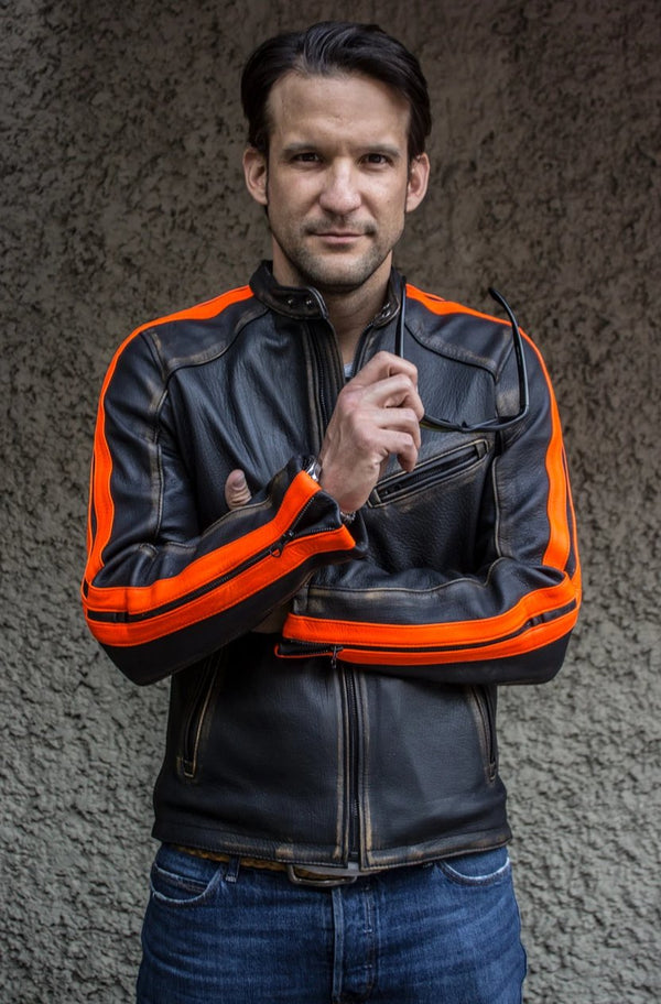 R80X Leather Jacket - Vivid Orange Stripes - Washed Distressed Black - Limited