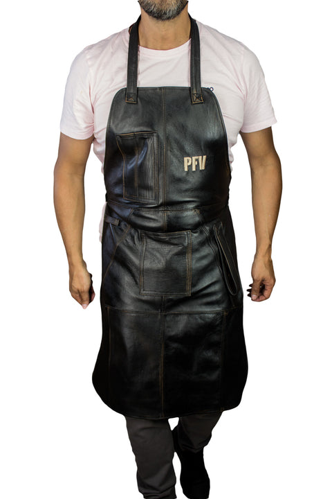 10S BBQ Leather Apron Grilling Distressed Black - Custom Name Initials