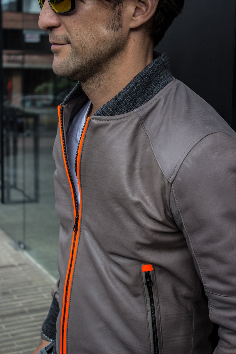 LUXUS HI-TECH lightweight Bomber Jacket in Calfskin Leather - Gray