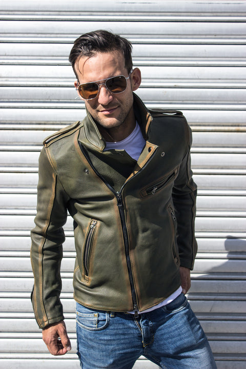 ZEALAND Leather Jacket - S. Edition - Washed Military Green