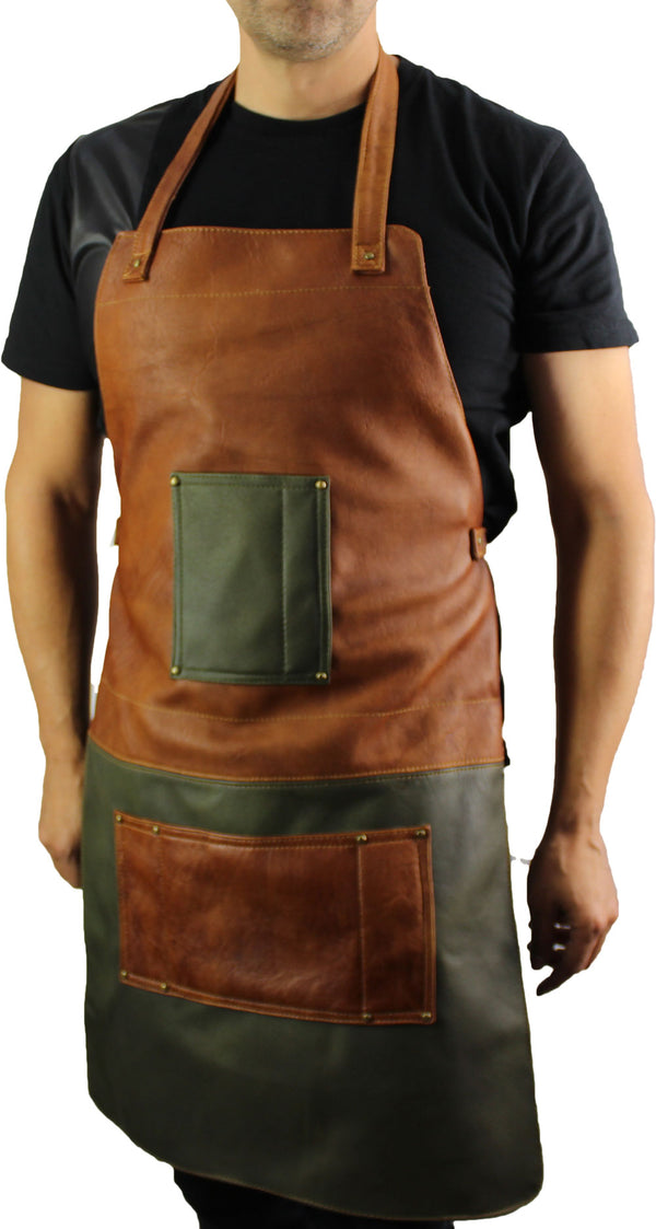 2S BAR & BBQ Leather Apron Green Brown - Name Initials or Logo