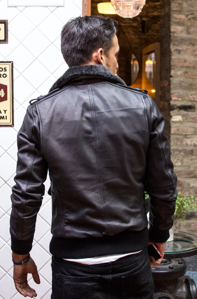 PILOT Leather Jacket - Mate Black - Shearling