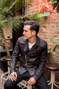 DEAN Leather Jacket Quilted - Mate Black