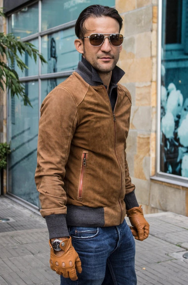 Grand Prix Bomber Jacket in Perforated Suede - Cinnamon Brown