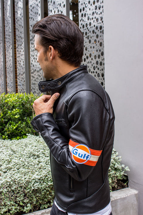 GULF Leather Jacket  Cafe Racer Modern Retro Stripes