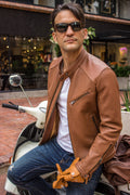BALLY Leather Jacket - Perforated - Light Brown -