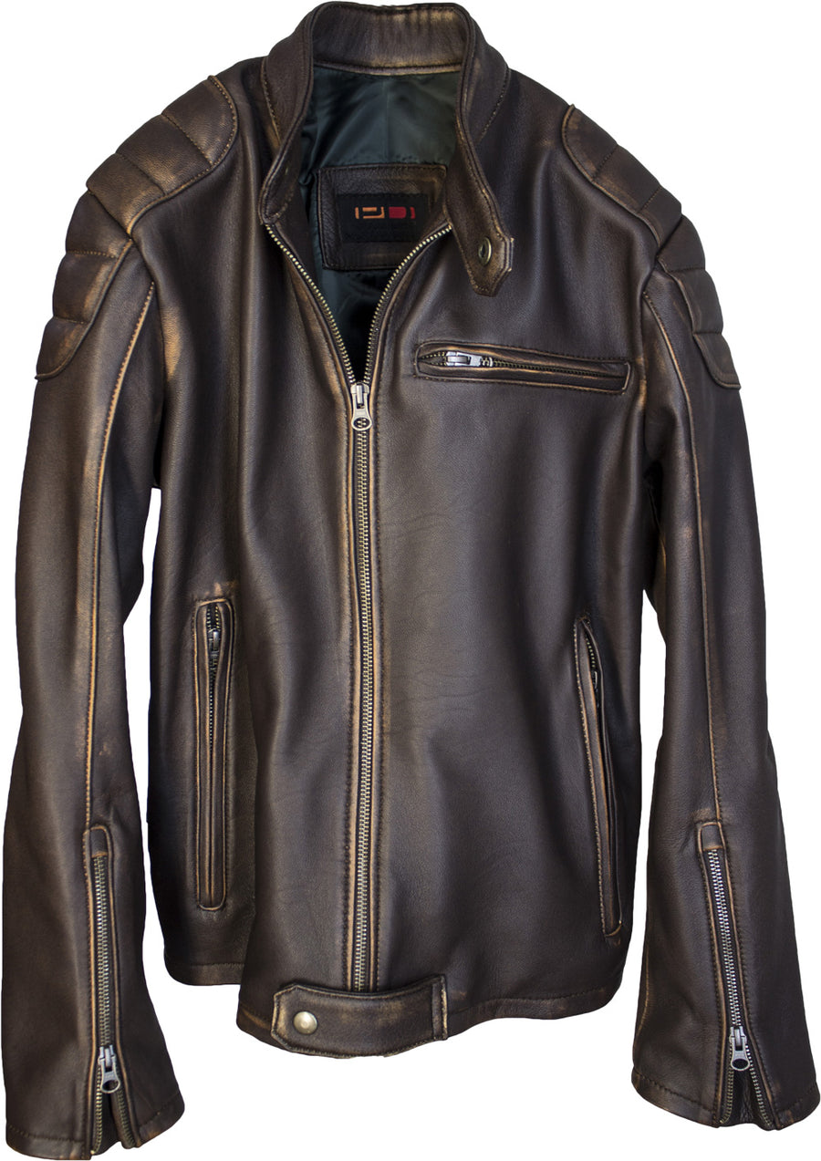GAMMA Leather Jacket - Distressed Brown Quilted