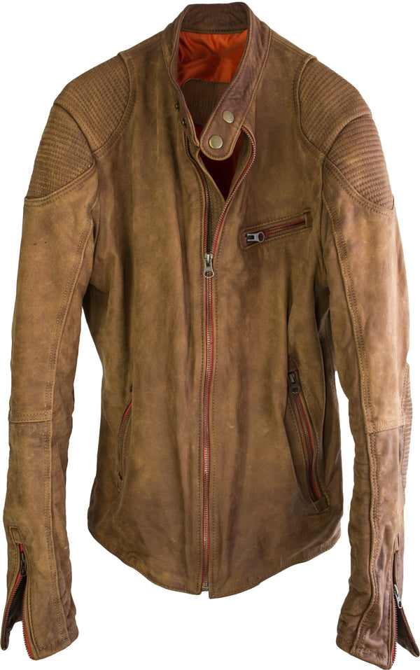 R.R. Washed Leather Jacket  - In Terra Color