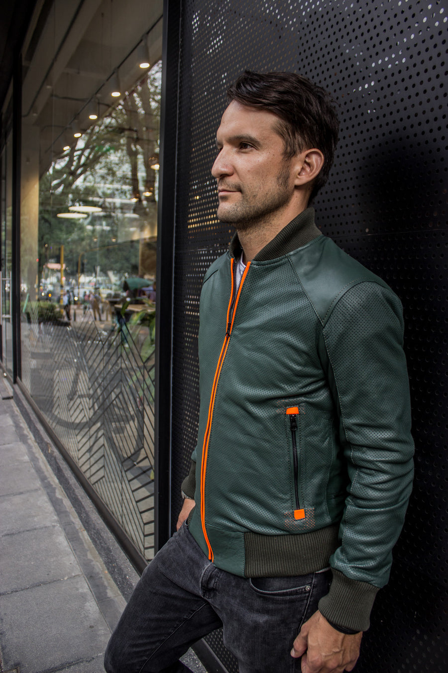 LUXUS HI TECH Leather Jacket Bomber lightweight - Perforated - Green