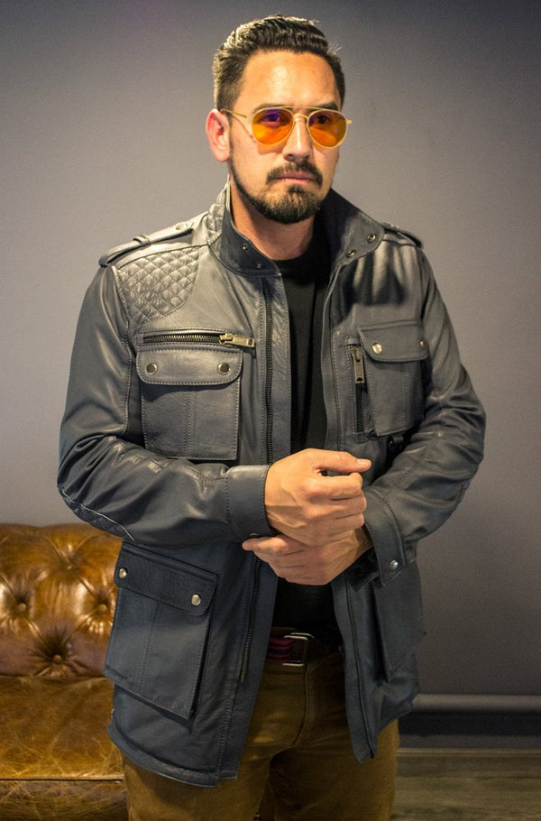 FIELD FR Leather Jacket in Calfskin - Gray  - Mid-Length