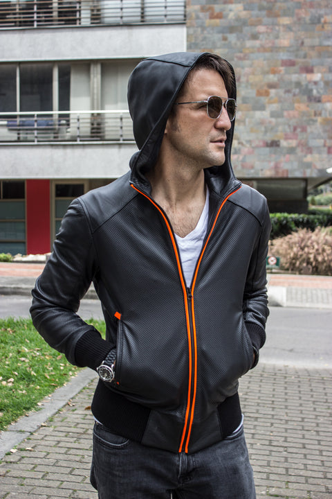 LUXUS HD Leather Jacket Bomber lightweight - Hoody - Perforated - Black