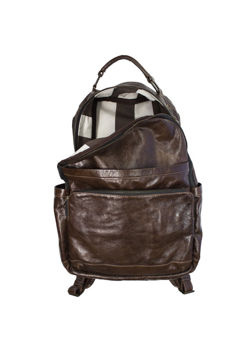 TOMMY Leather Backpack in Antique Brown