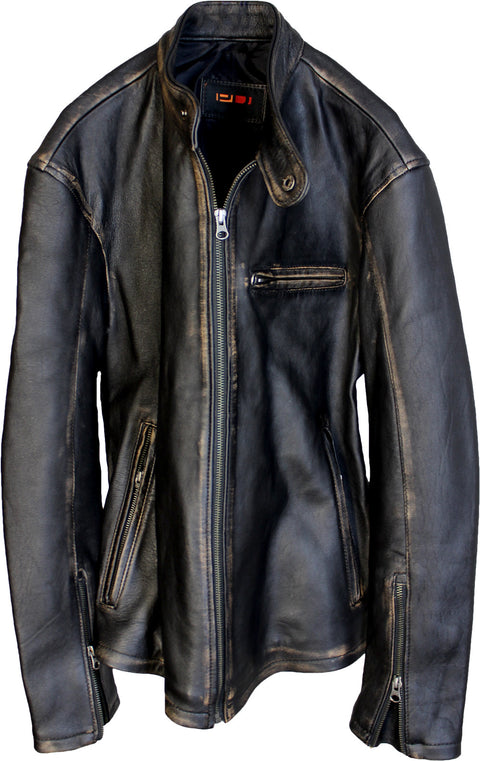 R79 Leather Jacket Distressed Black Vintage Fit - Lambskin