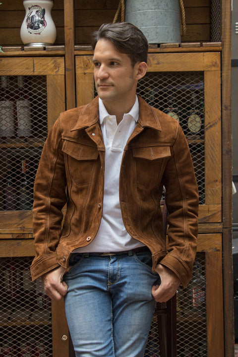 MARTIN Leather Jacket Terra Brown  - Nubuck Suede -