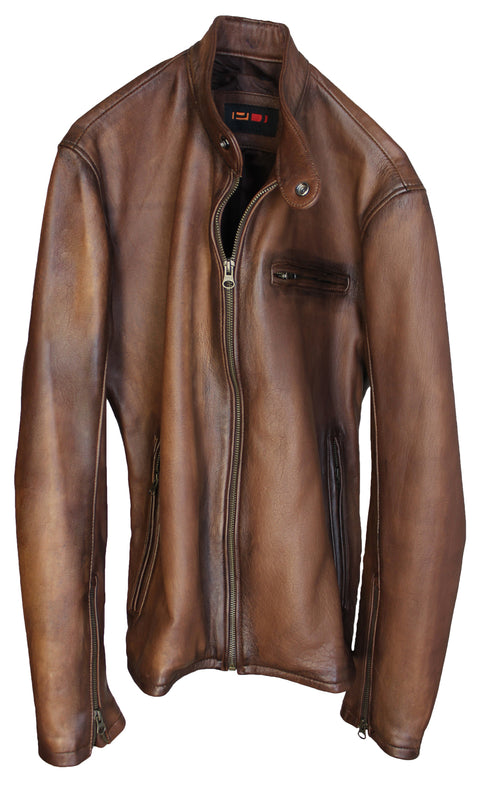 R79 HB Leather Jacket Luxury Cafe Racer Antique Brown Vintage Fit Hand Burnished
