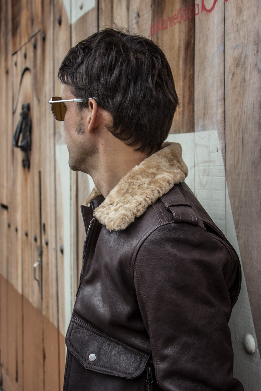 PILOT Leather Jacket - Natural Brown - Shearling