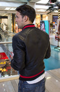 LUXUS Bomber Jacket in Perforated Leather Black - Red Stripe