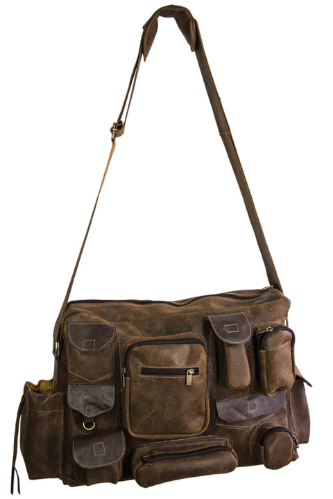MPKT Multi-pocket Leather Bag Distressed Brown