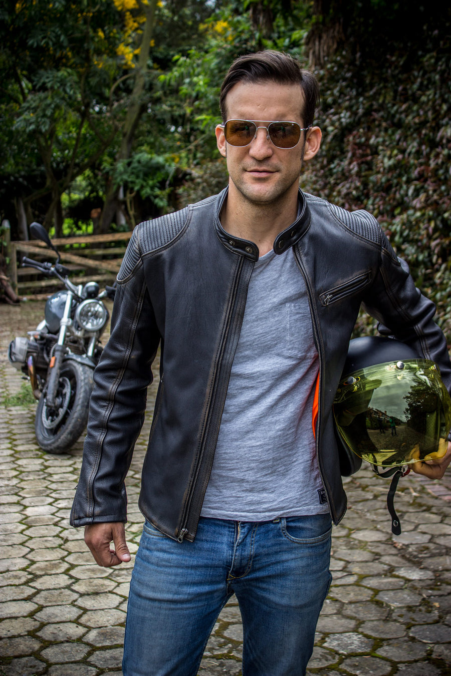 FALLOUT Leather Jacket  Distressed Black   - Cafe Racer