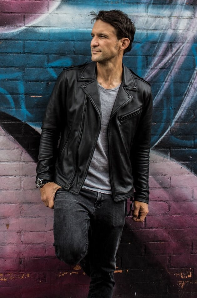 Rebel II BLACK Leather Jacket in Calfskin