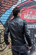 UNION JACK Leather Jacket in Black & Black British Flag Cafe Racer- Limited Ed