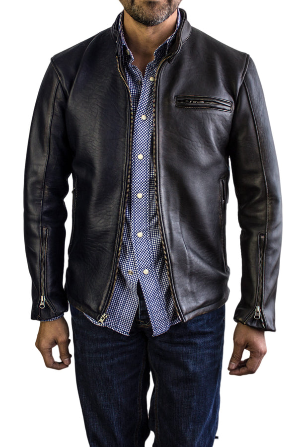R79 Leather Jacket Motorcycle Solid Black