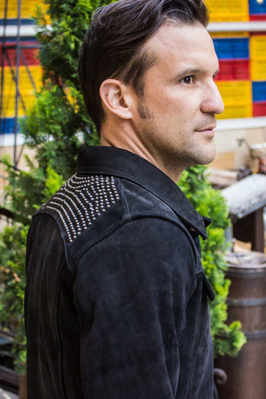 MCDAVE Denim Style Jacket in Nubuck & Studs - Black - PDCollection Leatherwear - Online Shop