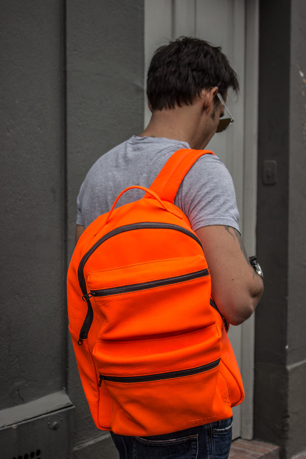 NEON Leather Bag Backpack in Orange