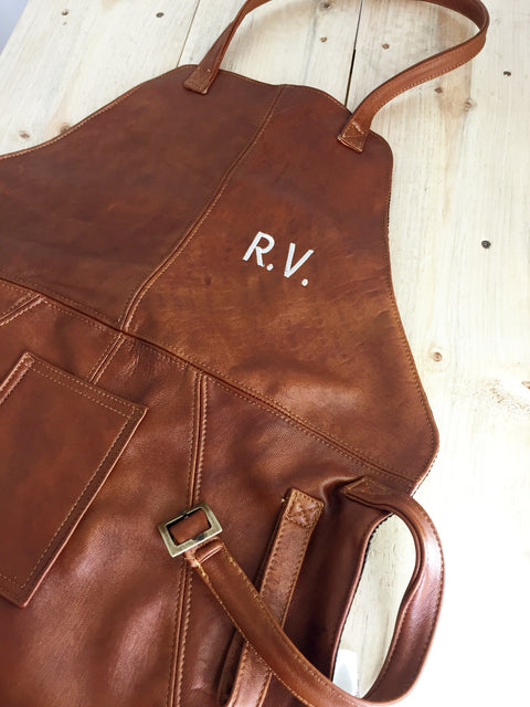 Leather Apron in - Brown Reddish Leather Custom-made BBQ Restaurant fashion Name Initials