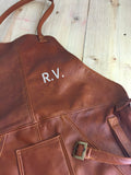 Leather Apron in - Honey Brown Leather BBQ Restaurant fashion Name Initials