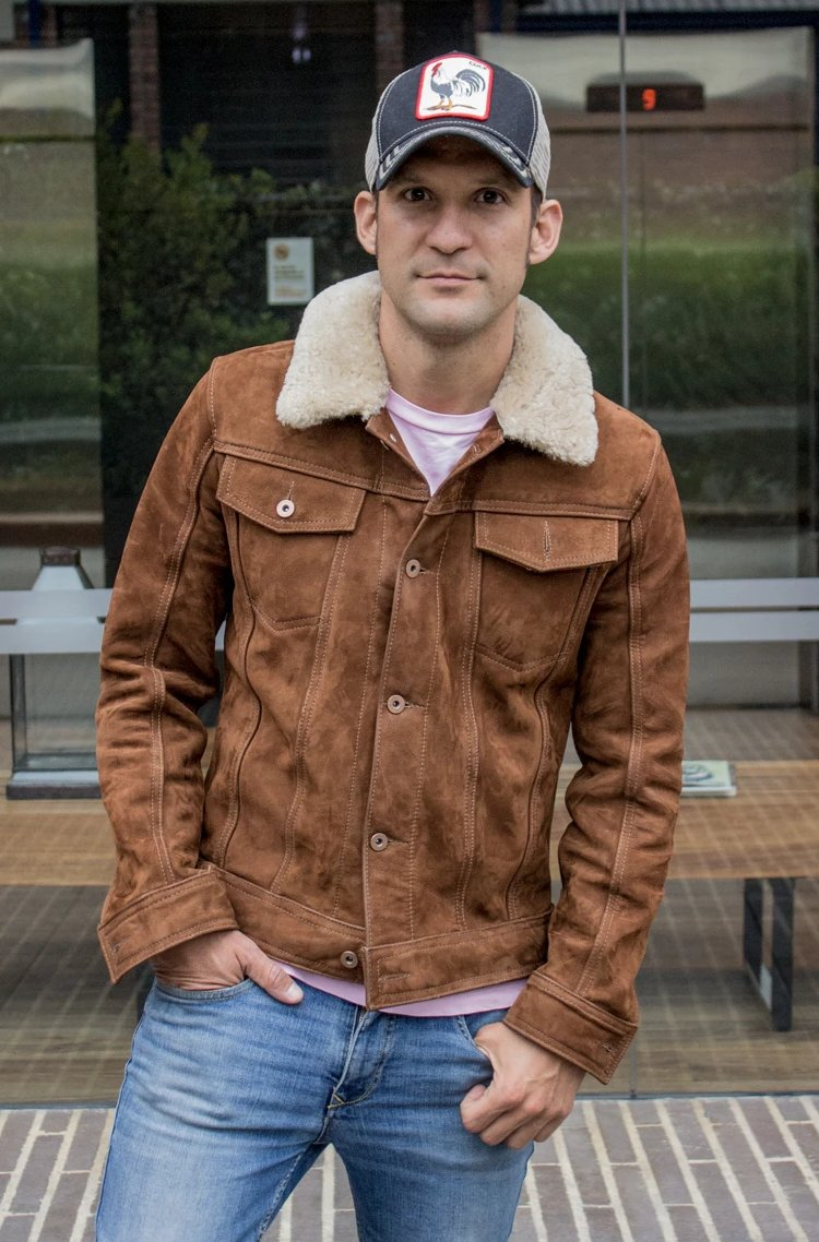MCDAVE AX Trucker Jacket Shearling Collar in Nubuck Suede - Mocha  -