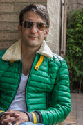 MAR Leather Jacket Shearling  Quilted in Summer Green