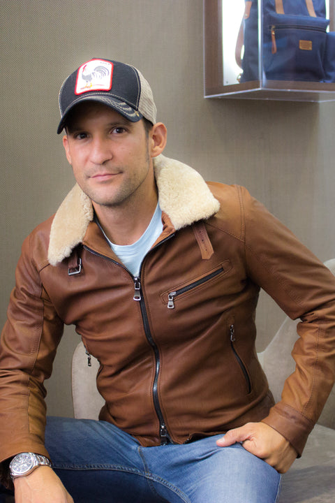 ALPS Leather Jacket Oiled waxed Brown - Shearling