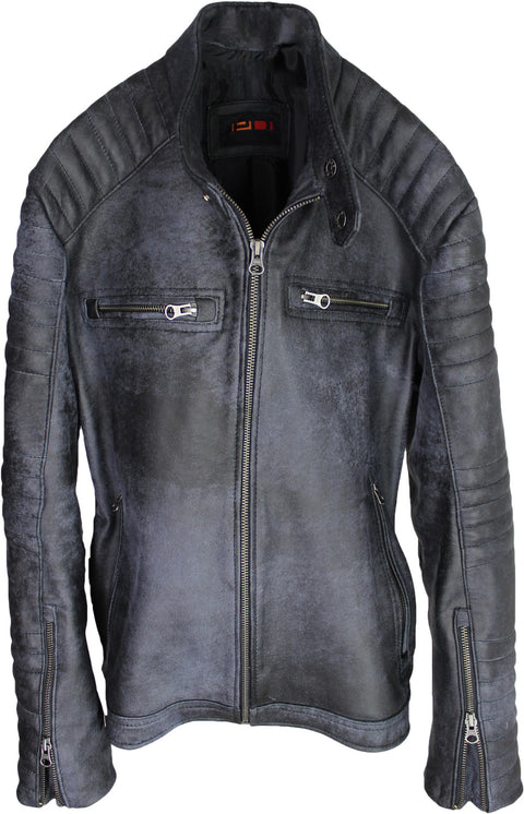 R100 Leather Jacket Cafe Racer Lamb Antique Distressed Gray