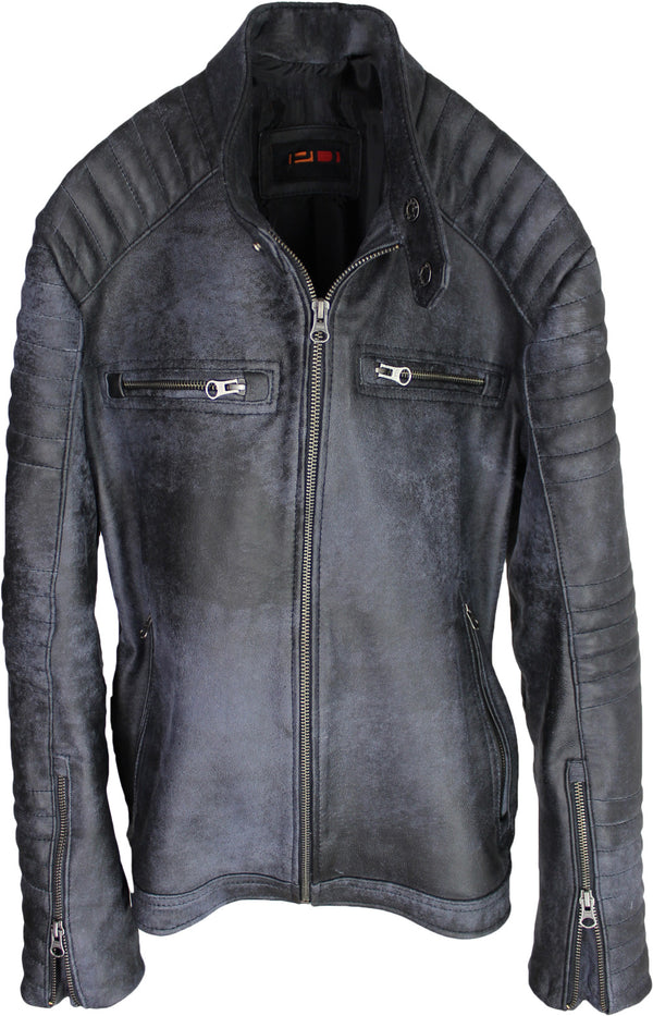 R100 Leather Jacket Cafe Racer Lamb Antique Gray