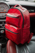 ALLIGATOR Texture Leather Bag Backpack in Luxury Red - Limited Ed.