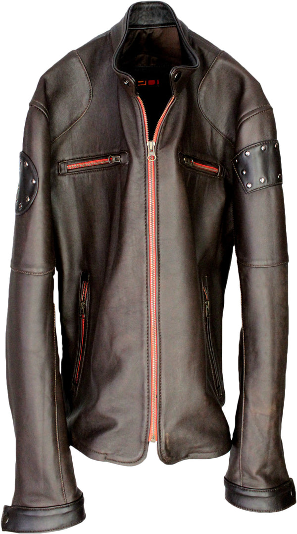 FORSTER Leather Jacket  Brown Cafe Racer Orange Accents